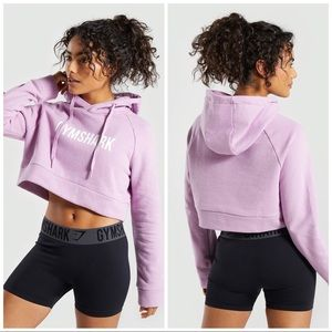 GYMSHARK PINK SPELL OUT CROPPED HOODIE SIZE XS